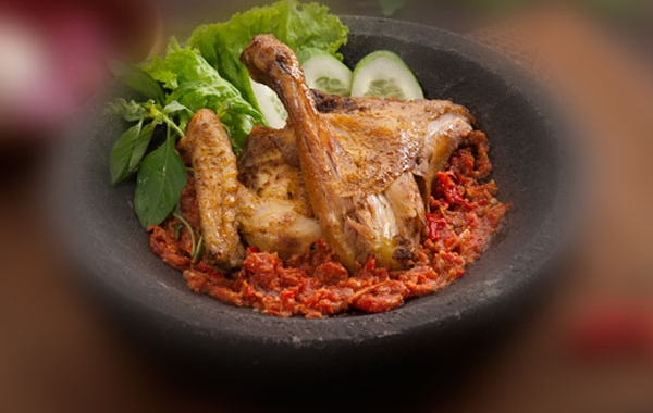 Chicken Penyet with Special Sambal